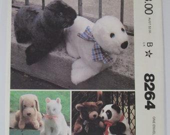 Vintage MCall's 8264 Stuffed Plush Soft Cloth Animals Craft Sewing Pattern Set of 5 Toys: Bear, Panda, Seal, Dog & Cat Uncut FF 1982 Era OOP