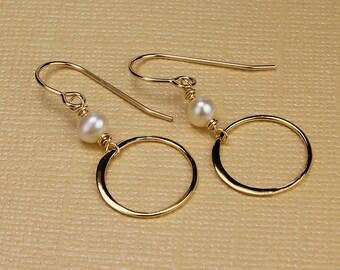 Freshwater pearl earrings real pearl earrings circle earrings gold circle earrings pearl dangle earrings pearl drop earrings white pearl