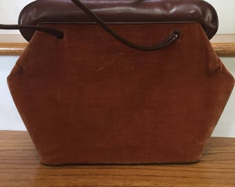 Kadin Mid Century Handbag/ Brown Velvet and Patent / Mod Top Handle Retro Bag/ Made in USA/