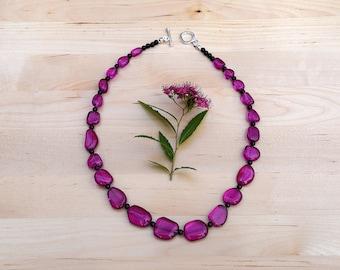 Deep Pink Quartz Nugget Necklace with Black Onyx