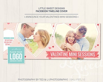 Valentine's / Engagement Facebook Timeline Cover - Photoshop Template for photographers (FBTL10) - INSTANT DOWNLOAD