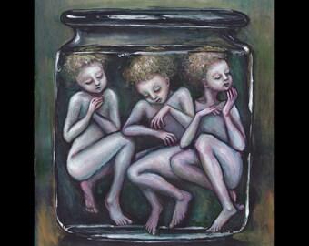 Brine, Three Specimens in a Jar, Original Painting, Folk Tale Art, Fairy Tale Art, St. Nicholas, Resurrection, Wet Specimens, Pickled Punks