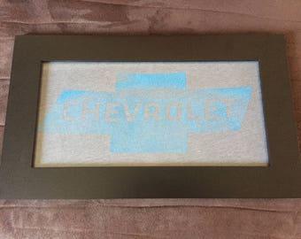 Chevrolet - 7x14 Framed T-Shirt Faded Blue