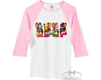 Easter Shirt - Easter Bunny Shirt - Ladies Easter Baseball Shirt - Pink White Victorian Bunnies Floral Shirt - Junior Size S M L Xl 2XL
