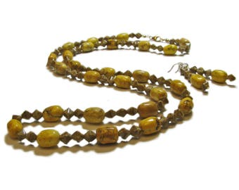 Yellow Stone and Brown Travertine Hand Crafted Artisan Beaded Necklace & Earrings By SoniaMcD