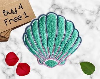 Seashell Patch Ocean Patches Iron On Embroidered Patches