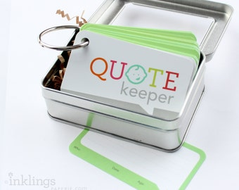Quote Keeper Ring with Cards // Apple Green // Quote journal, baby sprinkle gift, baby shower, baby book, baby album, new mom gift ideas