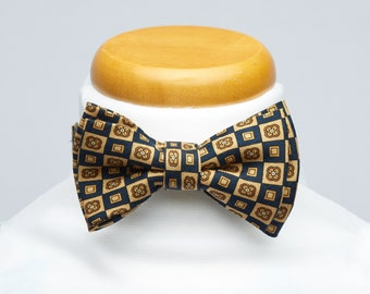 Pre-tied bowtie dark blue checked w/ yellow beige floral motif, silk bow tie for men adult, classic wedding & groomsmen, graduation vintage