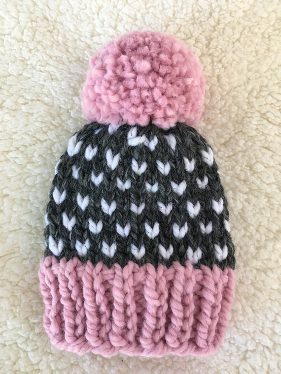 Kids Chunky Knit Hat Fair Isle Knit Girls Hat Pom Pom Hat