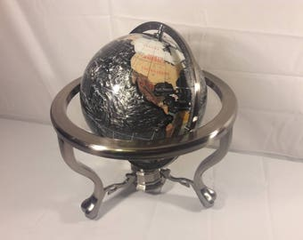 Vintage Semi Precious Table Top Stone Globe with Stand & Compass