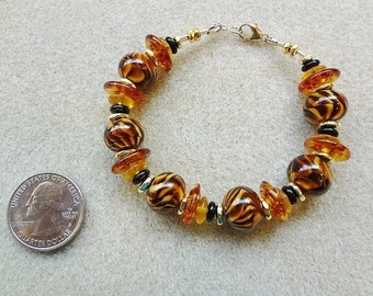 Tiger Stripe, Brown Lampwork Glass, Boro Glass, and Gold Fill Beaded Bracelet - Handmade - Large Wrist