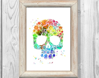 Sugar Skull Poster Watercolor Poster Sugar Skull Art Print Giclee Wall Illustrations  Print  Wall Decor  Home Decor Instant Digital Download