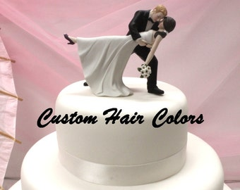 Custom Wedding Cake Topper - Personalized Wedding Cake Topper - Romantic Wedding Cake Topper - Romantic Dip Cake Topper - Bride and Groom