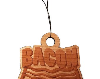 Bacon Laser Engraved Wooden Rear View Mirror Charm Dangler