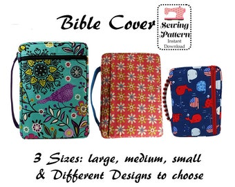 Bible Cover Sewing Pattern, Digital Sewing Pattern, Zippered Bible Case, Book Cover, Bible Organizer, Book Holder, LARGE, MEDIUM, SMALL
