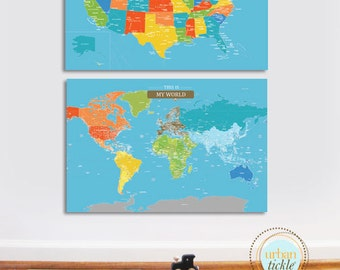 Maps for kids, World Maps for kids, Canvas Map board, SET of 2, USA and World map, 24X36 Inches, Travel Artwork, Maps for Playroom, Custom