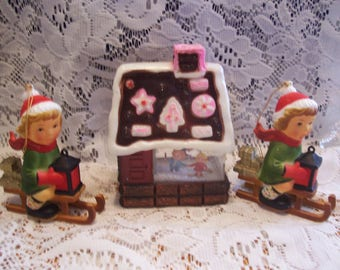 Hard Plastic Gingerbread House & Two Christmas Ornaments