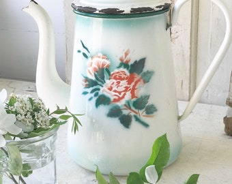 A beautiful large antique French enamel coffee pot with floral detail
