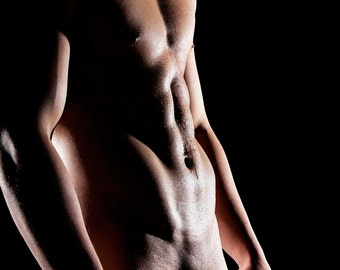 Mist Version 2 Gay Art Male Art Photo Print by Michael Taggart Photography black muscle muscles muscular strong six pack sixpack abs water