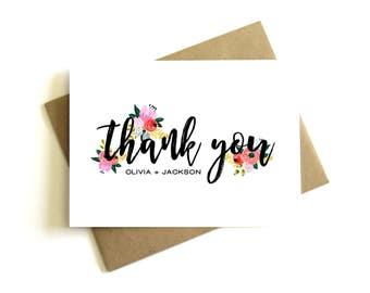 Custom Thank You Card - Personalized Wedding Thank You Card, Floral, Thank You Note, Wedding Thank You, Thank You Card, Personalized