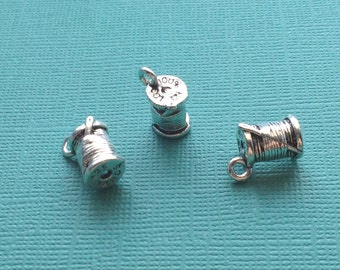 4 Spool of Thread with Needle Charms Silver - CS2586