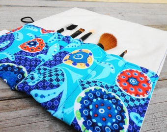 Makeup Brush Roll, Cosmetic Brush Roll in Blue Paisley