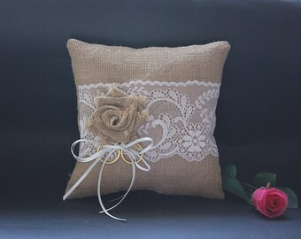 Wedding ring pillow - Ringbearer pillow in burlap / hessian and white lace with burlap flower and white ribbon embellishment