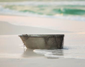 Set of 2 Metal Boat with net on Ocean with waves and beach digital backdrop/digital background
