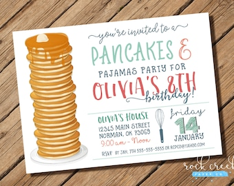 Pancakes & Pajamas Invitation, Pancakes and PJs, Pancake Breakfast Party, Pancakes and PJs, Printable Birthday Party Invitation
