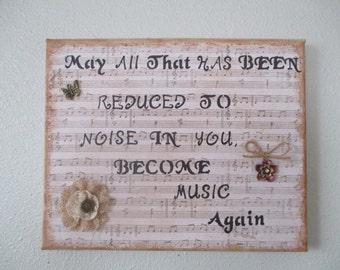 Musical mixed media wall art, wall hanging