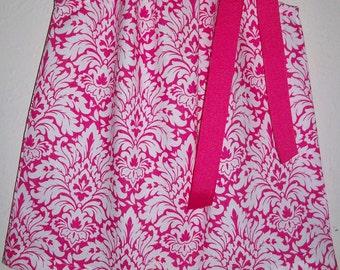 12m Pillowcase Dress Spring Dresses Summer Dresses Hot Pink Dress Damask Dress baby girl dresses Baby Dresses Toddler Dresses Ready to Ship