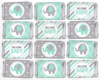 Mint Elephant Mini Candy Bar Wrappers, Mini Chocolate Bar Wraps, Printable Party Favor Labels, Nugget Wraps. Mint Green and Gray Baby Shower