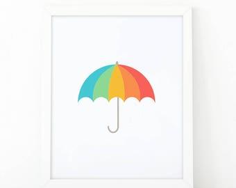Umbrella, Colorful print, nursery wall art, Nursery printable, umbrella print, Modern print, digital print, umbrella illustration, nursery
