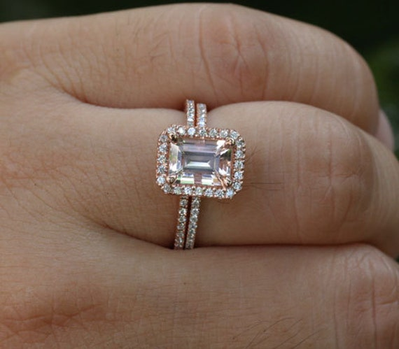 Rose Gold Morganite Engagement Ring and Diamond Wedding Band