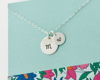 Initial Necklace, Sterling Silver Initial Necklace, Simple Sterling Monogram Necklace, Simple Personalized Necklace, Initial and heart