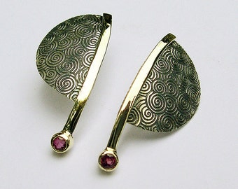 Ruby Earrings, Contemporary Ruby Earrings, Dangle Ruby Earrings, 14k Gold, Sterling Silver
