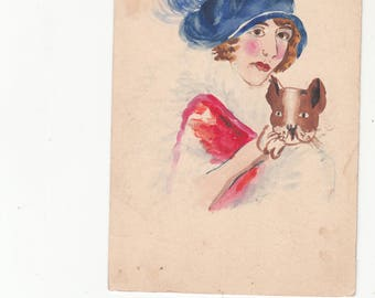 Original Art-Hand Painted Antique Postcard C 1910s Woman In Hat Holding Dog