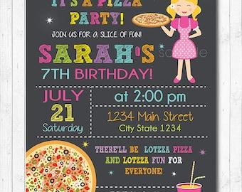 Pizza Birthday Invitation, Pizza Invite, Pizza party, Chalkboard, Girls invitation, Digital Printable Invitation