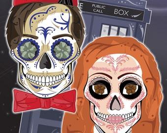Dr. Who & Amy Pond Sugar Skull Print 11x17 print