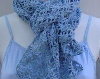 Crochet Scarf, Crocheted Scarf, Blue Scarf, Scarves, Lace Scarf, Summer Scarf, Gift for Her, Something Blue, Bridal Favor, Hand Crocheted