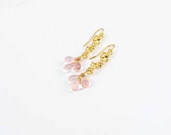 pink earrings gold jewelry evening earrings for women gifts cluster jewelry for her gold flower earrings feminine earrings pink gifts пя185