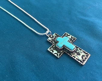 Turquoise Cross Necklace, Cross Charm, Turquoise Necklace, Turquoise Jewelry, Western Charm Jewelry, Boho Jewelry, Boho Necklace, Boho Style