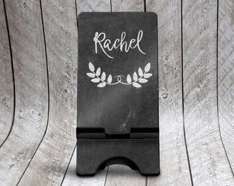 Chalkboard Phone Stand, Custom Phone Holder, Personalized Phone Dock