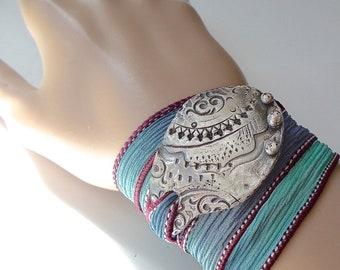 Handmade Silver Silk Wrap Ribbon Bracelet Yoga Jewelry . Modern Tribal . Bohemian Hand Dyed Silk Ribbon