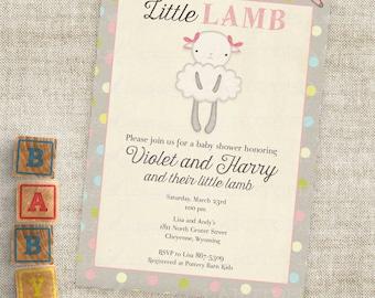 Lamm-Baby Shower Einladungen Baby Girl kleines Lamm Digital druckbare Datei mit professioneller Druck-Option - Cardtopia