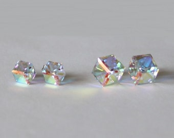 Titanium earrings- 6mm, 8mm AB Clear Swarovski crystal cube studs-Hypoallergenic- Rainbow clear crystal cube earrings- sensitive ears