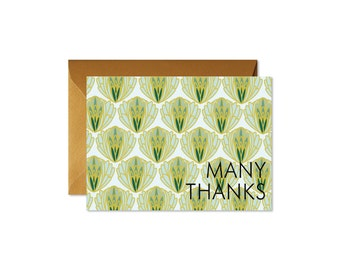 MANY THANKS Succulent Notecards + Envelopes Pack   Boxed Set (8)