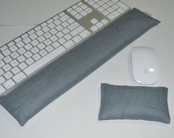 Gray Linen Computer Keyboard Wrist Rest & Optional Mouse Wrist Support Set - Lavender or Unscented