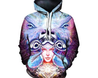 Festival Clothing - Psychedelic Hoodie - Visionary Art Portrait - Trippy Clothes