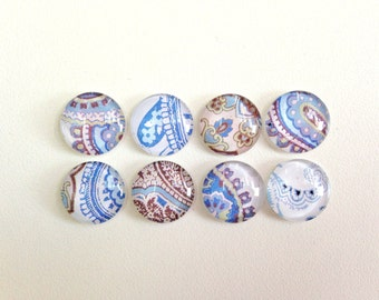 Denim Blues- choose from set of 4 or 8 magnets or push pins- Handmade- colorful shades of blue and brown pattern